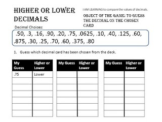 Higher or Lower Decimals Game