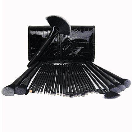 Ammy® 32 pièces pinceaux de maquillage Set de maquillage professionnel poignée synthétique Premium Kabuki Fond de Teint Poudre Blush Liquide Visage Anti-cernes Estompeur Crème cosmétique Pinceau à lèvres outil Pinceaux Kit de sac (Noir)