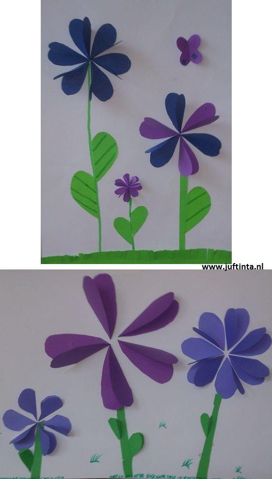Maak eerst de bloemen: De bloemblaadjes maak je van hartjes. Deze vouw je dubbel. De ene helft van het hartje lijm je vast op je blad, de andere helft laat je omhoog steken. Zo maak je de hele bloem. Nadat je bloemenveld vol is, maak je de stengels en het gras. Met dank …