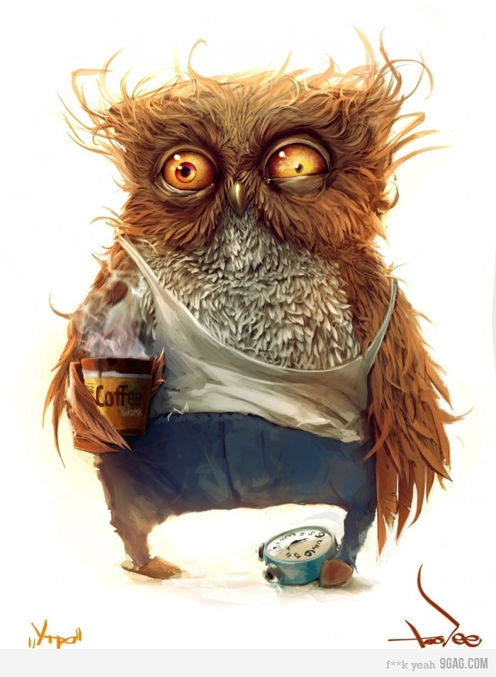 Coffee owl--awesome art!!  I had to print this and frame it as part of my kitchen theme!