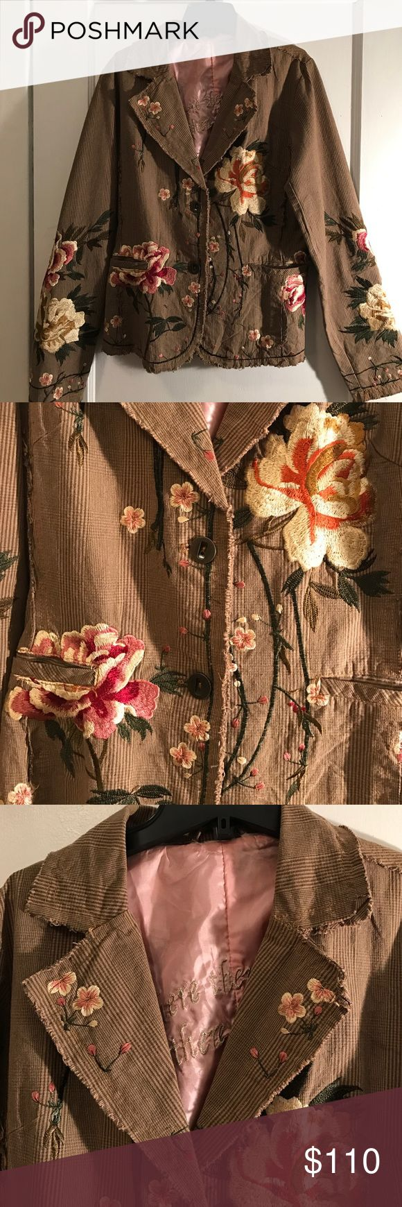 Johnny Was Embroidered blazer I LOVE this blazer This is the first Johnny Was item I ever purchased. It has the JW. embroidered flowers all over. Pinks, creams, corals, greens browns. The fabric on the jacket is light brown & darker brown. Similar to a houndstooth. There are 2 front pockets size L. Length 26 inches. I've put this in my listings twice before. But never got close to what I was asking for it. I know what it's worth. I will put it for sale until 3:00pm tomorrow. Firm price Thank…