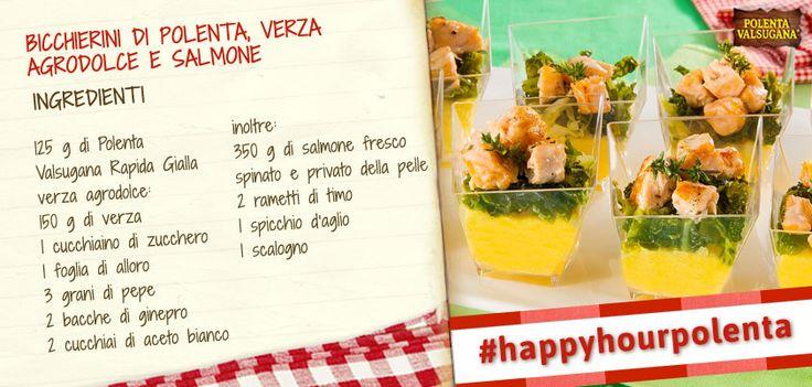 I bicchierini più sfiziosi del nuovo anno? Preparali con #polenta, #verza agrodolce e #salmone fresco http://goo.gl/XXhK18