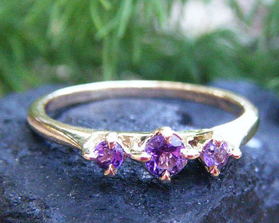 Vivid Purple Amethyst ring gold amethyst eternity by ExquisiteGem