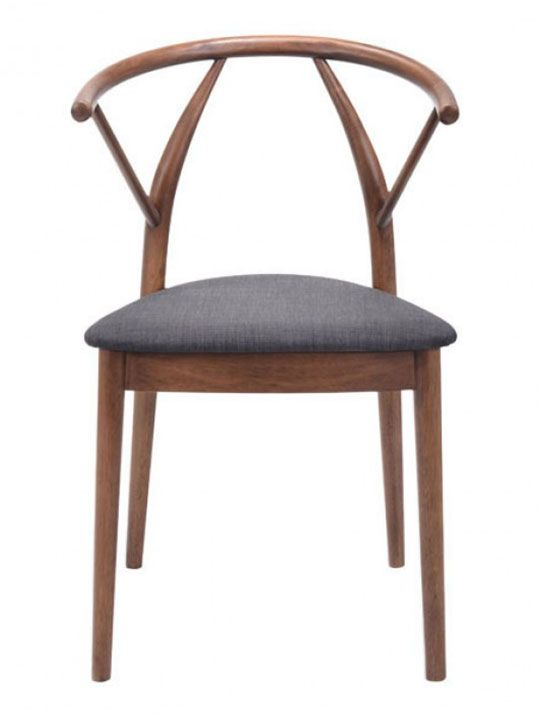 TheNorwegian Wood Chair (2 Set) is a unique European style chair that features a fluid walnut wood curved base and backrest seating. Complete with plush linen upholstered seats in a dark gray color. This Scandinavian designed chair set goes great next to a unique coffee table to make additional living room seating. Also place this chair set in an office, …
