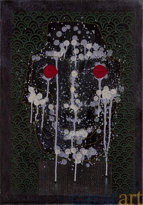 Ben von Stietencron, Kopf, kosmozentrisch; st115, Finnpappe, Acrylhybrid, Schmirgelpapier, 50 x 34 cm, 2012, 1.200 €