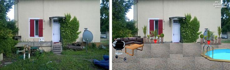 amenagement de cour de maison avant apres avec le logiciel gratuit My Garden Designer