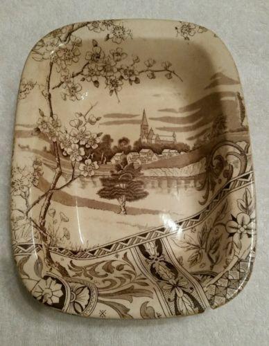 T-R-Boote-YOSEMITE-Brown-Aesthetic-Transferware-Platter-1883-England-antique
