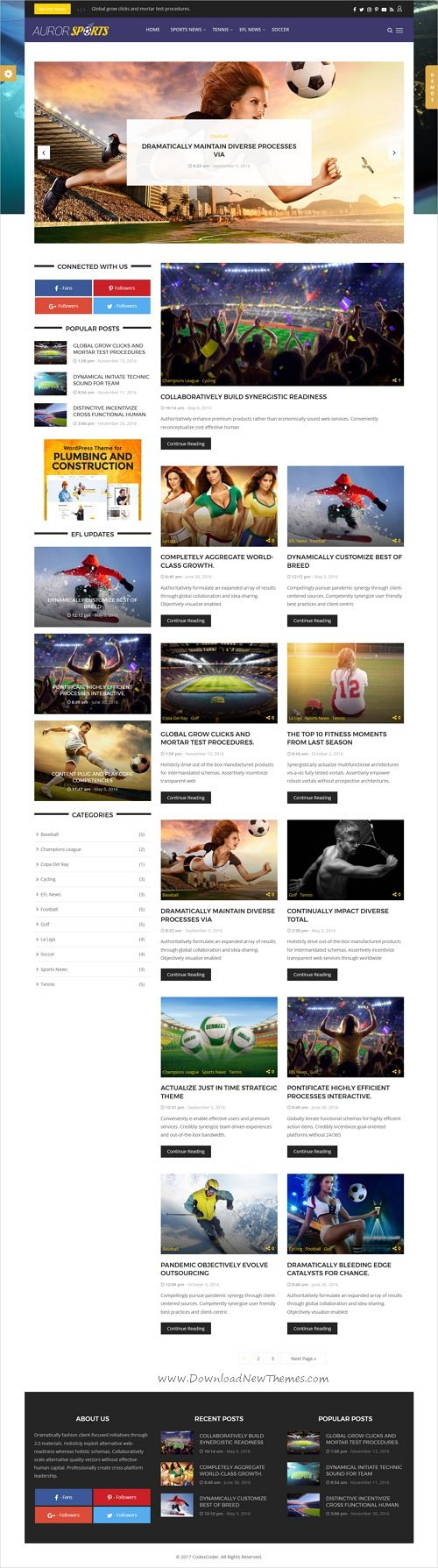 Auror is clean and modern design responsive #WordPress theme for #sports  #news, #blog and #magazine website with 18+ unique homepage layouts download now..