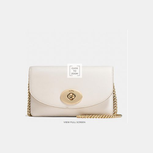 Coach Outlet Locations & COACH CLUTCH wallet with chain LIGHT GOLD/CHALK