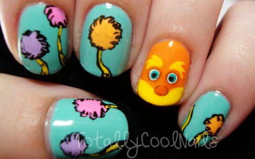 Lorax Nails.Nails Art, Nails Design, The Lorax, Makeup, Beautiful, Thelorax, Hair, Popular Pin, Lorax Nails