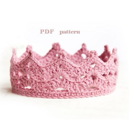 crochet baby crown pattern, baby crown, baby photo prop, easy level $3.50 PDF