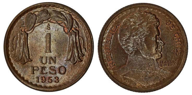 https://flic.kr/p/RSqsyw | 1 Peso 1953 | Copper Mintage: 17.200.000 Designer/Engraver: René Thenot