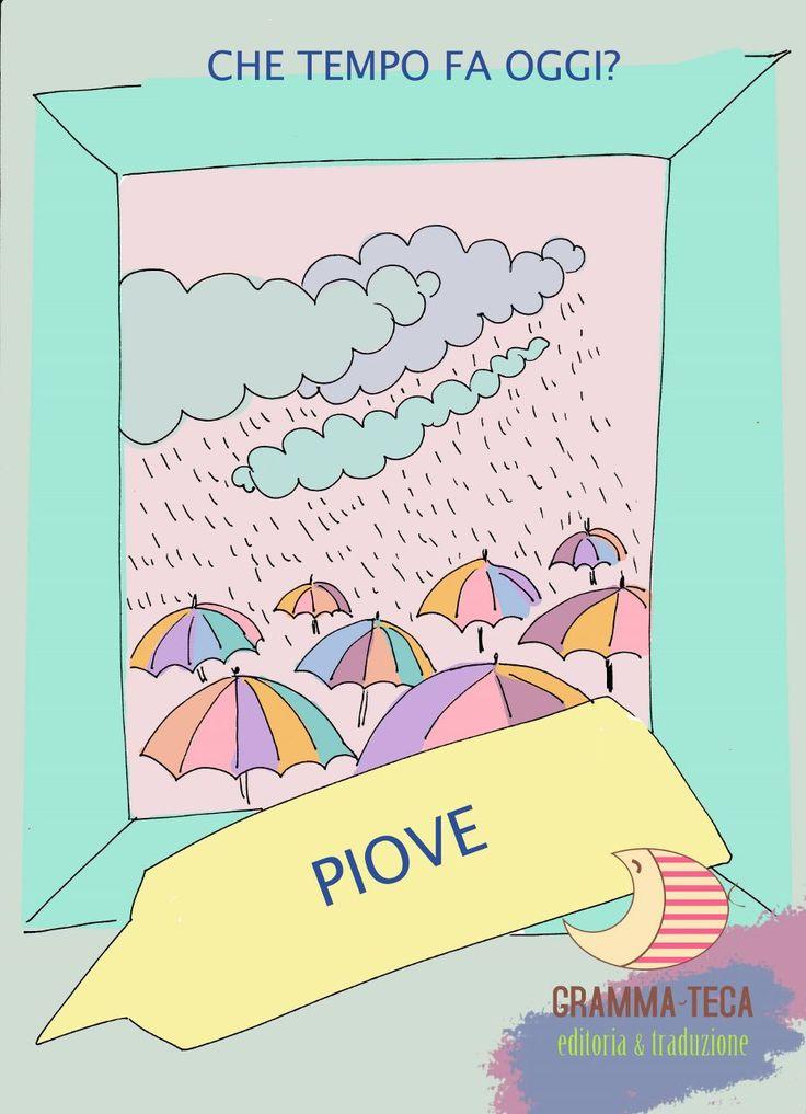 Che tempo fa oggi? Piove.  #italianol2 #italianols #materialedidattico #flashcards #grammateca @Cristina Comi