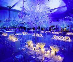 Winter themed wedding reception.