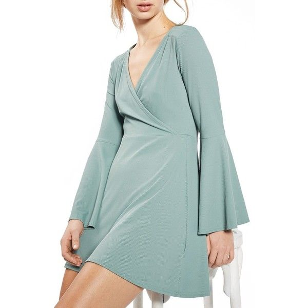 Petite Women's Topshop Flute Sleeve Skater Dress ($55) ❤ liked on Polyvore featuring dresses, petite, sage, flared sleeve dress, sleeved dresses, short sleeve dress, petite short dresses and flare sleeve dress