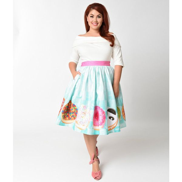 Unique Vintage Plus Size 1950s California Donuts High Waist Swing... ($78) ❤ liked on Polyvore featuring plus size women's fashion, plus size clothing, plus size skirts, white skater skirt, high waisted circle skirt, plus size high waisted skirt, white high waisted skirt and vintage high waisted skirts