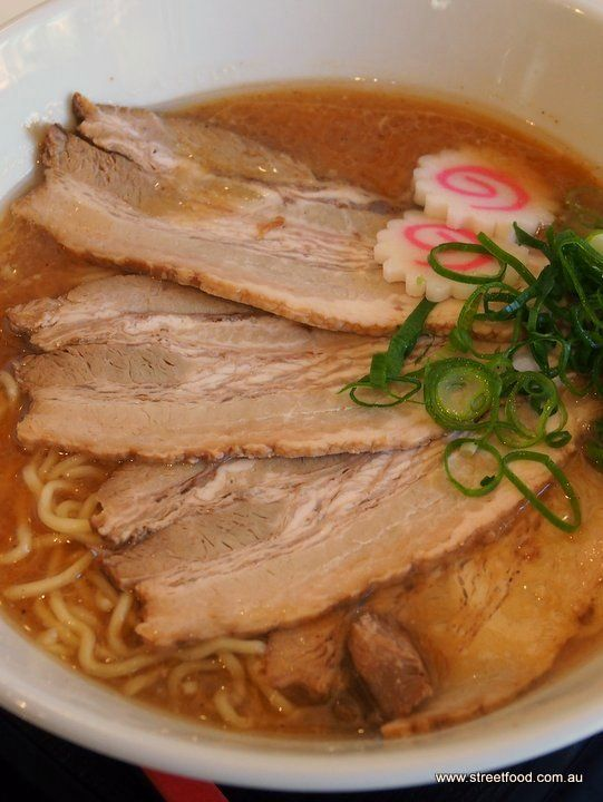 Ton-toro (roasted pork) ramen with tori-gara miso broth - $12.90 - Menya Noodle Bar ~ Japanese - Chinatown