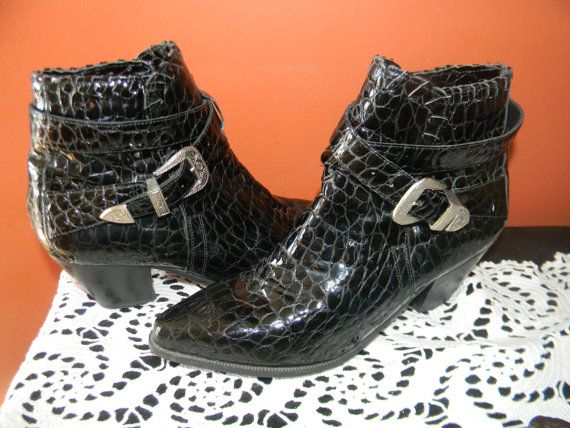 SHAKIRA STYLE Crocodile Patton Leather Black by Thebaroqueprincess, $120.00