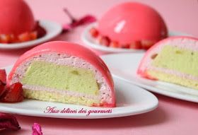 L'envie me prend de réaliser une gourmandise  bien girly.   C'est fait, un dessert  léger, fruité, parfumé et bien rose.   Ces dômes  s...