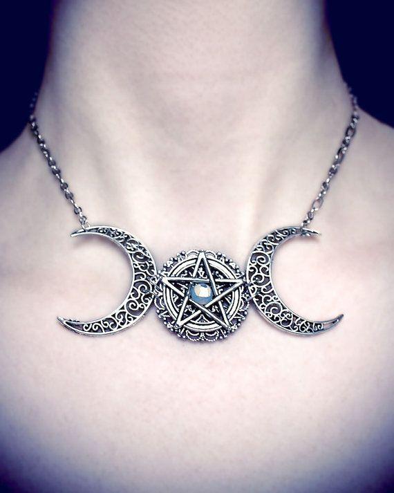 Triplo Moon Collana Tripla dea pentagramma di AuroraEventide