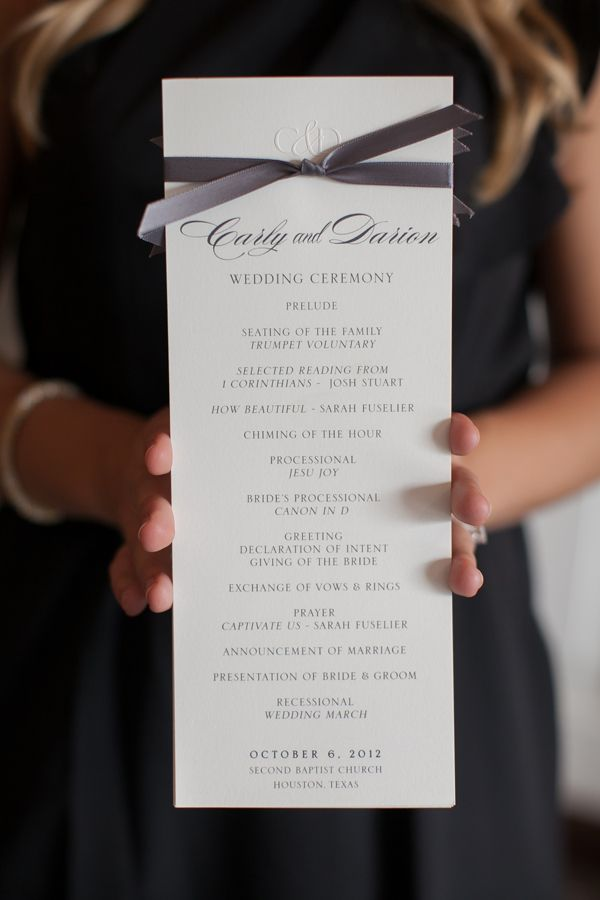 The Program • The embossed schedule of events is simple and elegant—just like the rest of the wedding!   	Photo by Nancy Aidée Photography