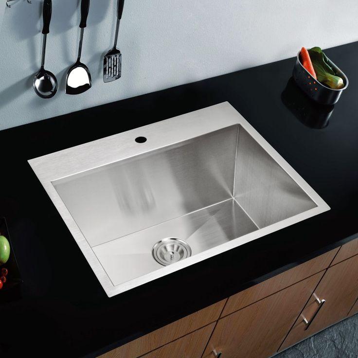 Water Creation 25-inch X 22-inch Zero Radius Single Bowl Stainless Steel (Silver) Hand Made Drop In Kitchen Sink (Sink