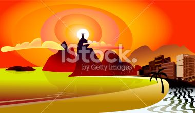 Copacabana / Rio de Janeiro Royalty Free Stock Vector Art Illustration