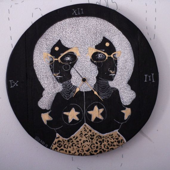 Twins wall clock black and gold hand painted with by littlerocksPK