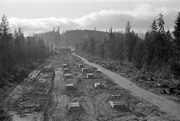 Lions Gate Bridge under construction, 1937 Stanley Park photo gallery | City of Vancouver
