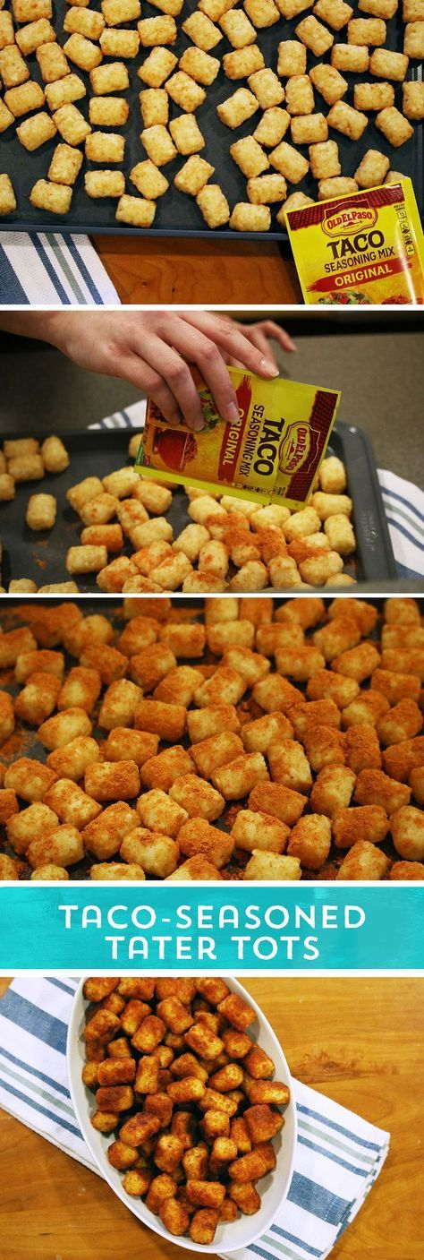 Need a party snack to feed your hungry game day crowd? These Taco-Seasoned Tater Tots are sure to please! They pack all the taco flavor you loves - in the perfectly crunchy tater tot you crave! Just sprinkle your favorite Old El Paso Taco Seasoning™ over