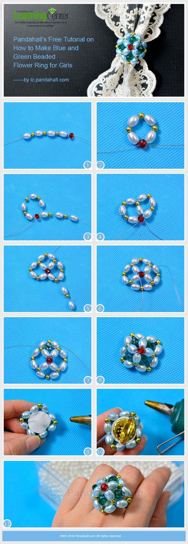 Free Tutorial on How to Make Blue and Green Beaded Flower Ring for Girls from LC.Pandahall.com    #pandahall