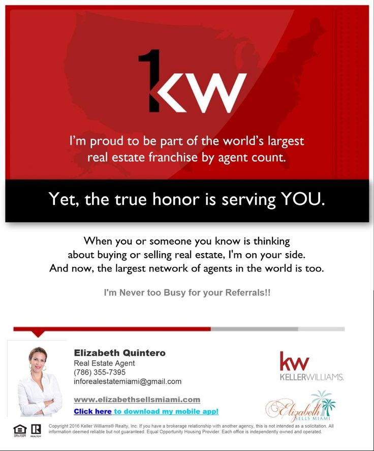 Keller Williams Realty- Biggest franchise by agent count. Keller Williams Miami Beach, Realtor, Real Estate Services.