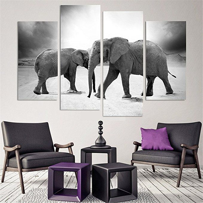 4 Piece Home Decor Oil Painting Two Elephants Hd Print On Canvas Wall Art Picture For Living Room Elephant Home Decor Elephant Decor Elephant Decor Living Room Elephant decor for living room