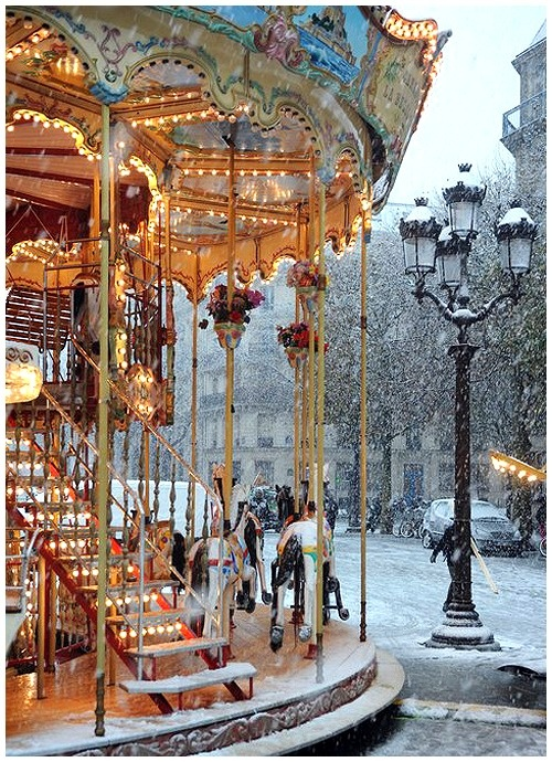 Carousel in the snow ~ Paris, France
