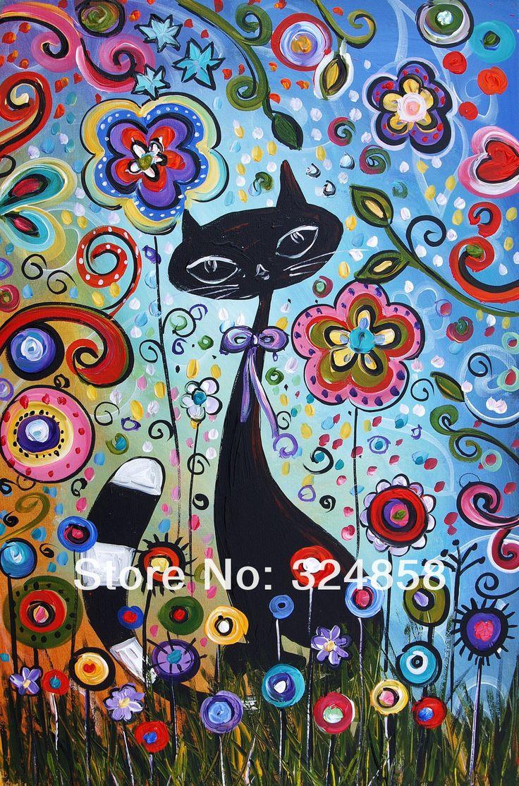 moderna del arte del gato con flores pintadas a mano de pintura de acrílico caligrafía abstracto pintura al óleo sobre lienzo las niñas arte de la pared decoración de hogar