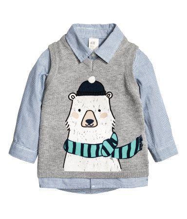 Overhemd en slip-over | Blauw/grijs | Kinderen | H&M NL