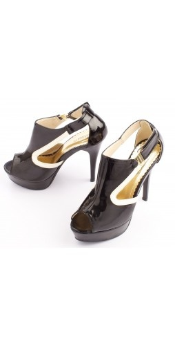 Get gorgeous going out style in these black and white sandals. Heel  height 12.2.
