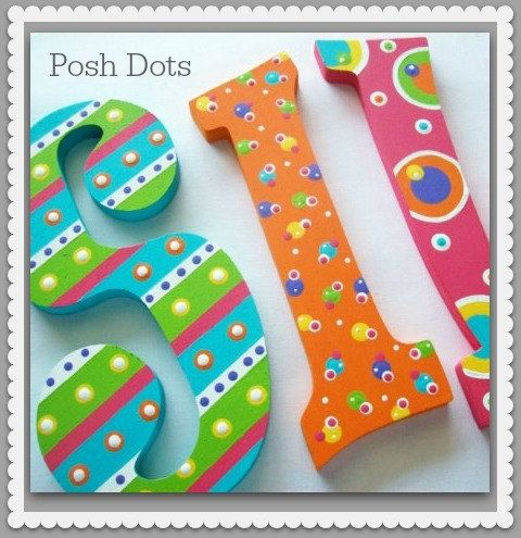 Custom Painted Decorative Wooden Wall Letters featuring Polka Dots and Stripes...Priced Per Letter