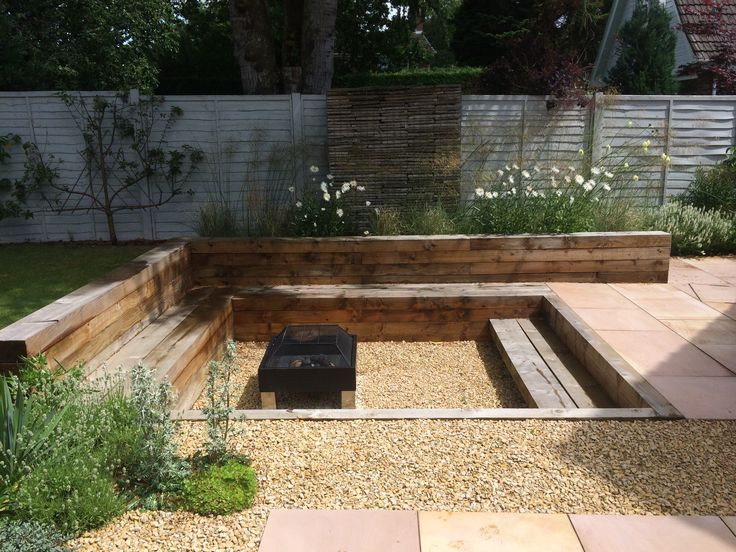Garden I designed one year on.. Sunken fire pit, up cycled pavers in gabions, sawn sandstone paving and white Mediterranean planting. All on a shoe string budget www.alexandrafroggatt.com garden designer, plant and living wall expert