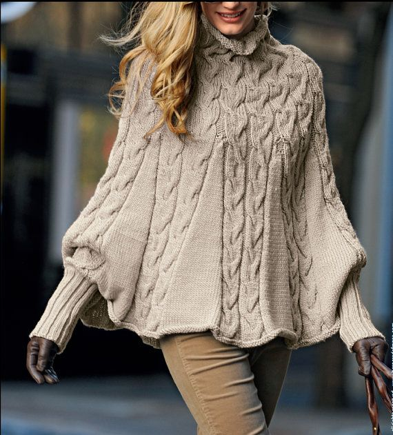 Hand knitted ladies poncho with sleeves and turtleneck turtle
