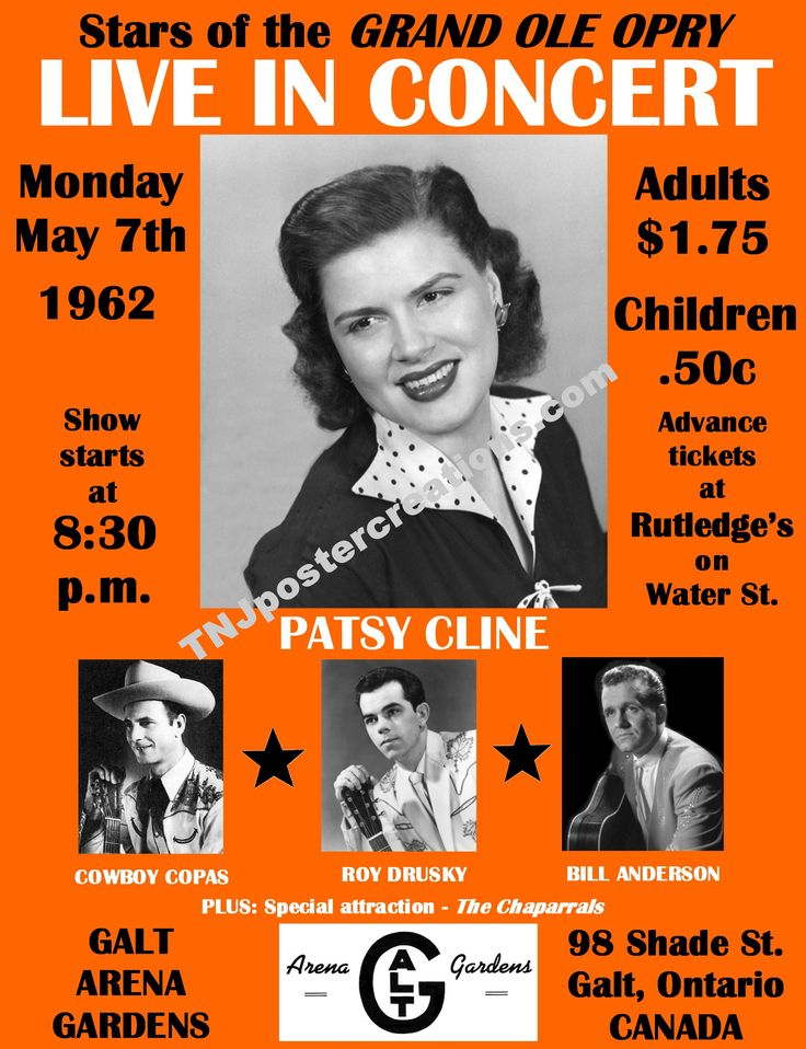 Patsy Cline in concert at the Galt Gardens hockey arena, Cambridge, Ontario in 1962. This concert poster is available at mygenerationshop.com