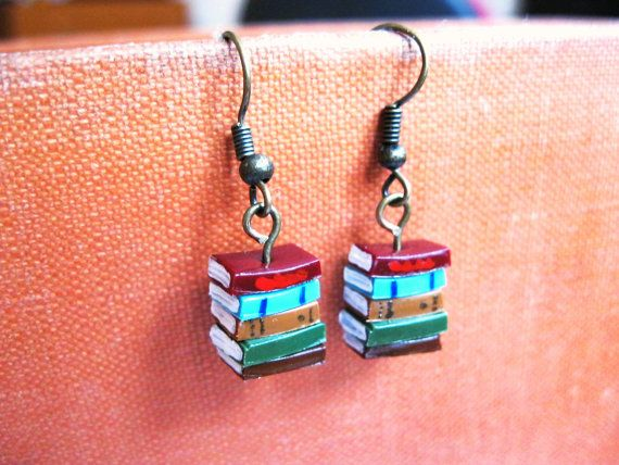 Stack of Books Earrings (Made to Order) - Book Jewelry by Coryographies via Etsy