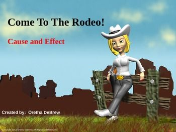 Come on out to the rodeo to see what can happen and why it happens!  This 33 slide PowerPoint presentation provides examples and interactive cause and effect activities in a rodeo setting.   It enables students to identify a cause and effect, write their own cause and effect,  give an effect for a given cause or give a cause for a given effect and take a quiz to check their level of understanding  cause/effect relationships.