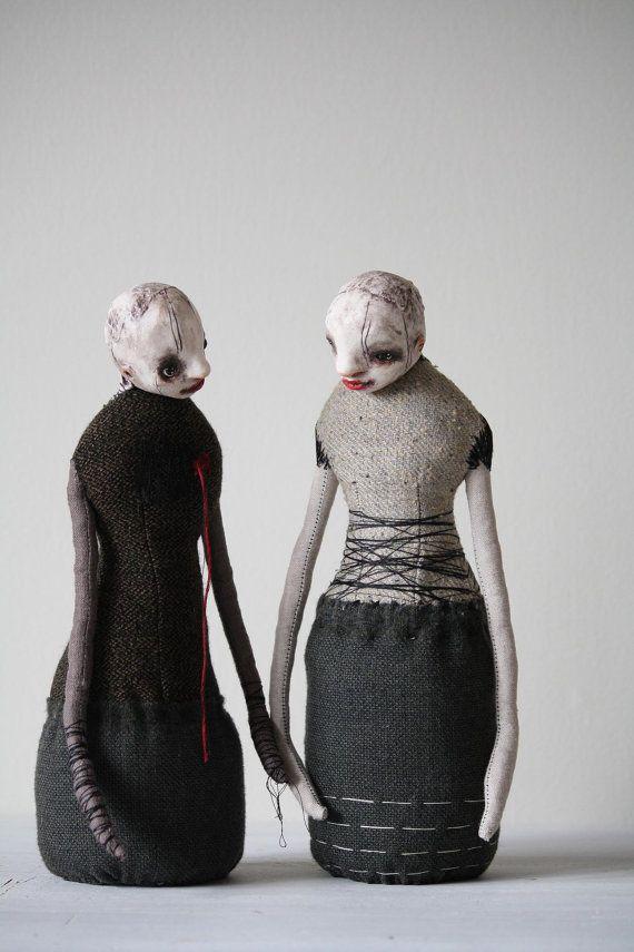 "Contemporary Soft Sculpture - "" Confessions "" - Set of 2 - OOAK art Dolls - Minimalist - Unusual Art Dolls"