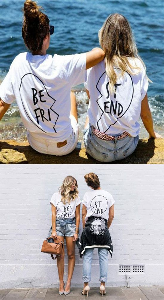 So cute shirt ! Best Friend Letters Printed Cotton T-shirt For Women Get Two Shirts #shirts #women #letters #best #friend