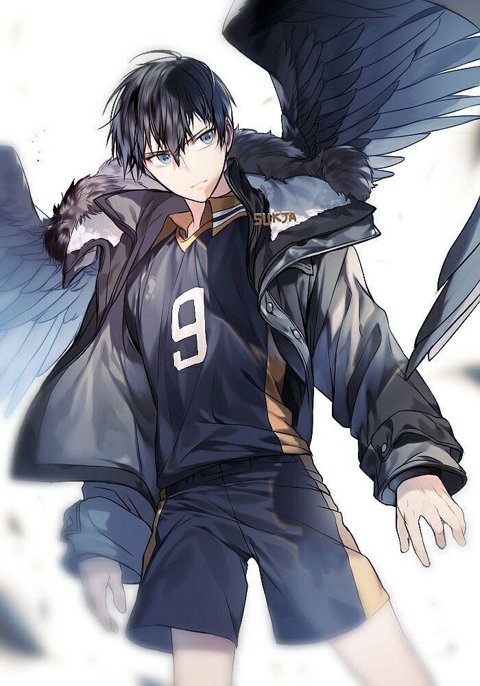 Anime Guy Epic Art Short Black Hair Blue Eyes Coat