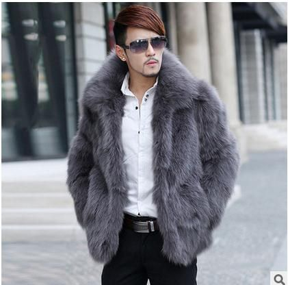 Free Shipping Men Casual Faux Fur Coats Plus Size Winter And Autumn Warm Male Faux Fox Fur Jackets Overcoats Outwear S/5Xl J1362