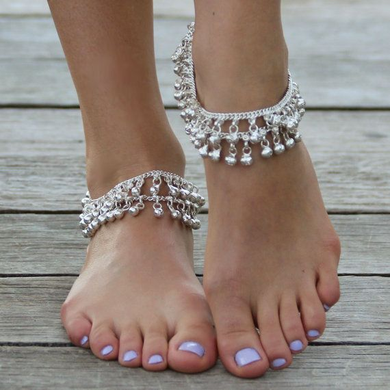 Silver Indian Wedding Anklets on Etsy, $21.77