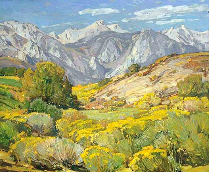 William Wendt (1865-1946). Desert Growth, Lone Pine. Oil on Canvas. Oil on canvas 25 x 30 in. (63.5 x 76.2cm )