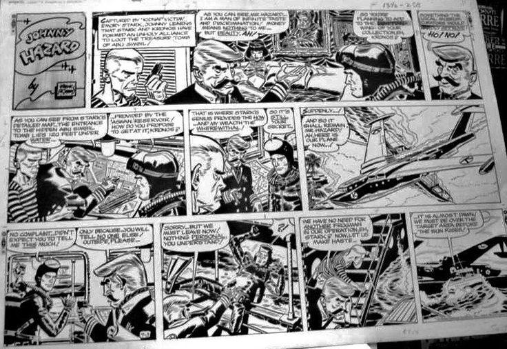 Comic Art For Sale from Coollines Artwork, ROBBINS, FRANK - JOHNNY HAZARD Sunday 9/3 1967, Johnny Scuba gear by Comic Artist(s) Frank Robbins